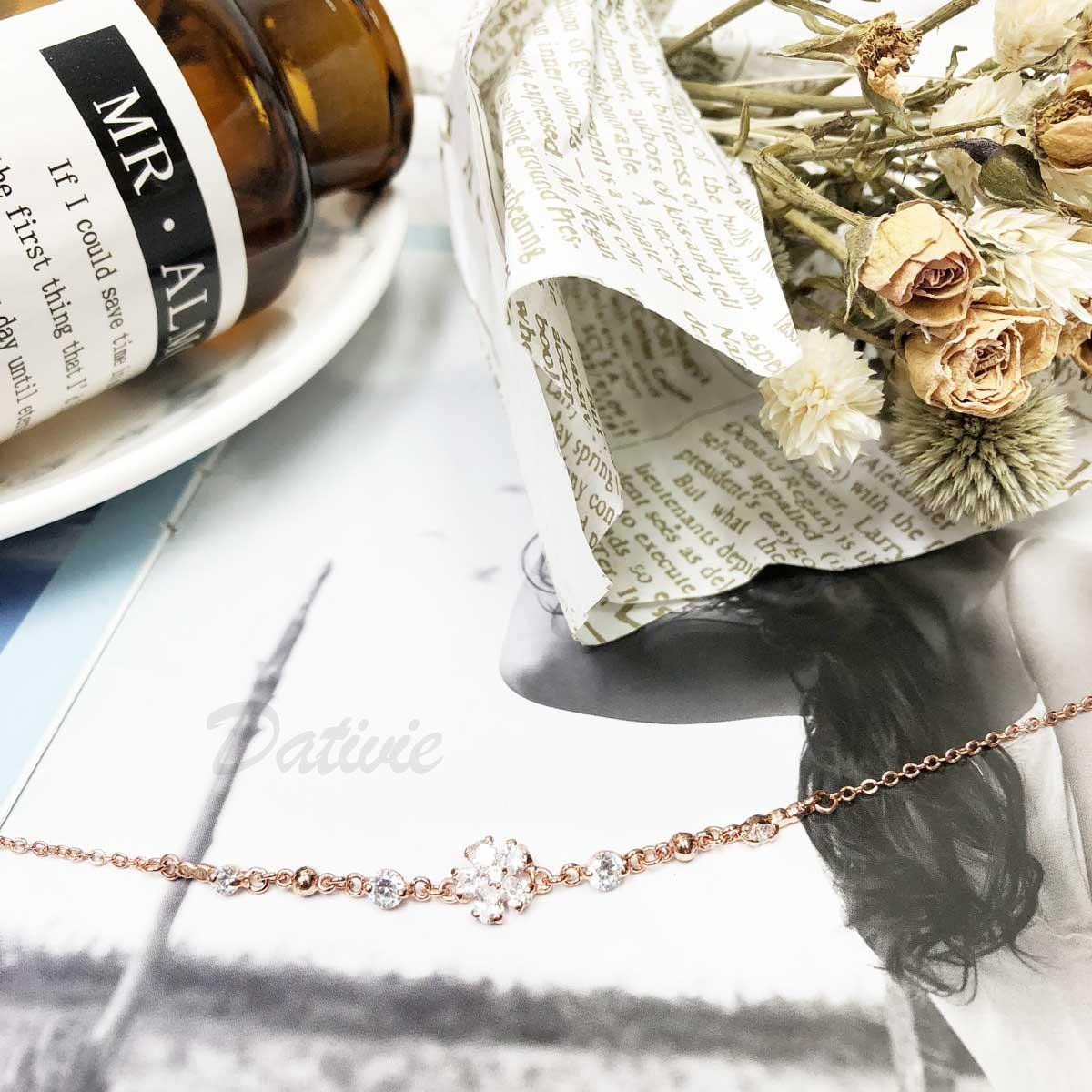 花 珠珠 玫瑰金 鑲鑽 水鑽 氣質款 精緻腳鍊