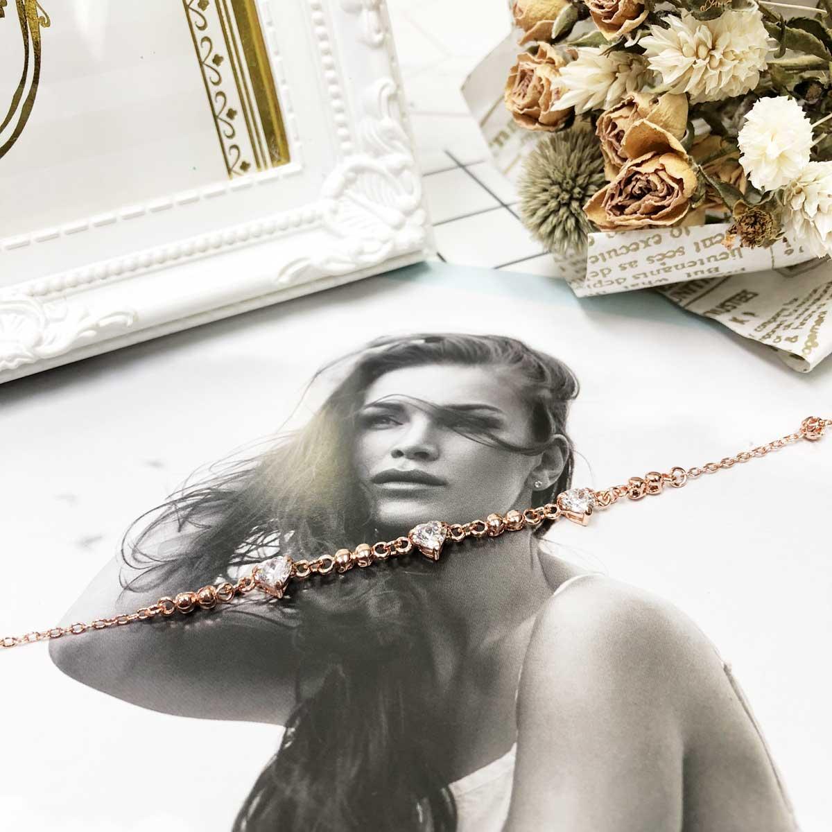 愛心 三入 鏤空珠珠 玫瑰金 鑲鑽 水鑽 精緻腳鍊