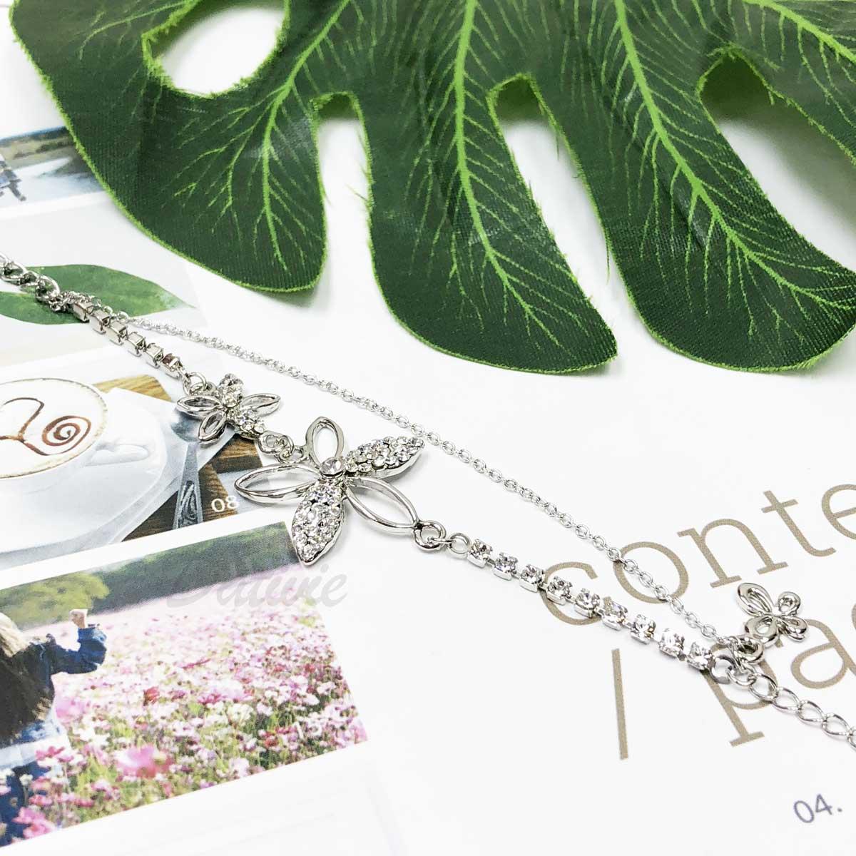 花 蝴蝶 鏤空 鑽鍊 雙鍊 鑲鑽 水鑽 精緻腳鍊