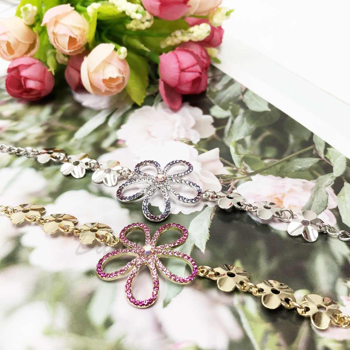大花朵 鏤空 鑲鑽 片狀花 手鍊 手飾