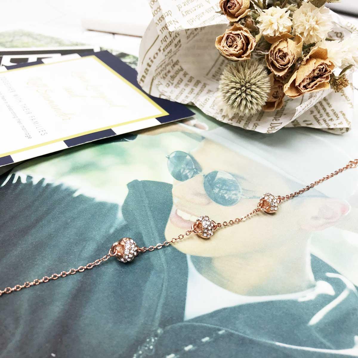 玫瑰金 圓輪 活動式 鑲鑽 三入 秀氣款  手鍊 手飾