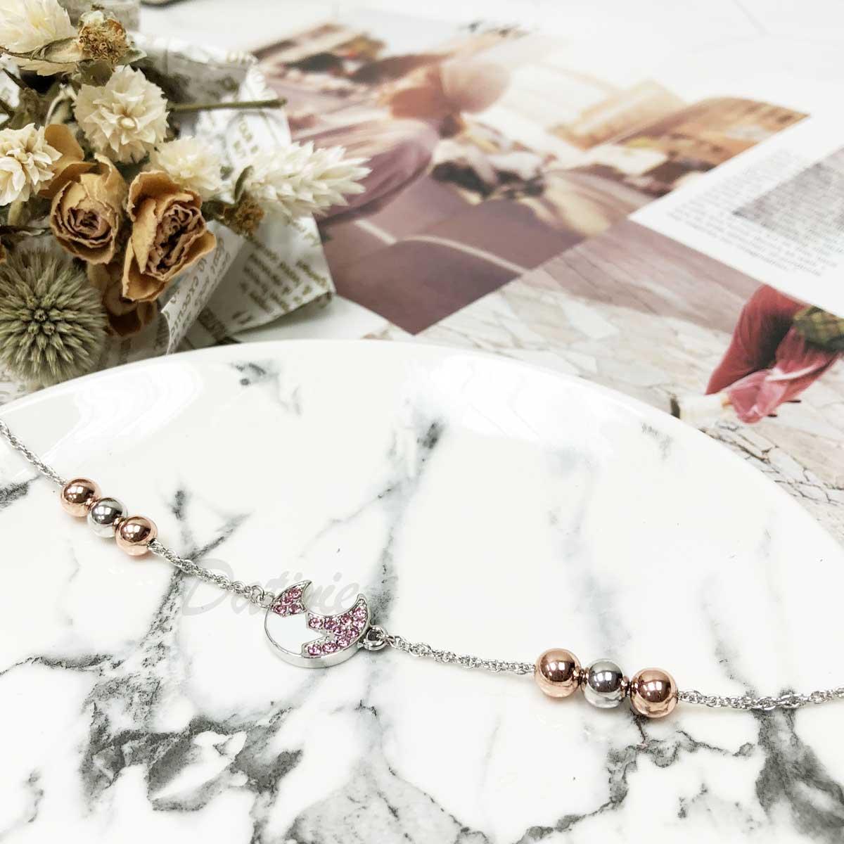 月亮 排列珠珠 玫瑰金 鑲鑽 手鍊 手飾