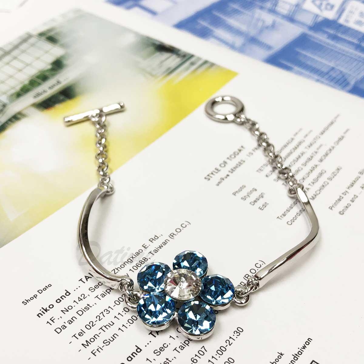 大花朵 藍花 T型扣 手環 手飾