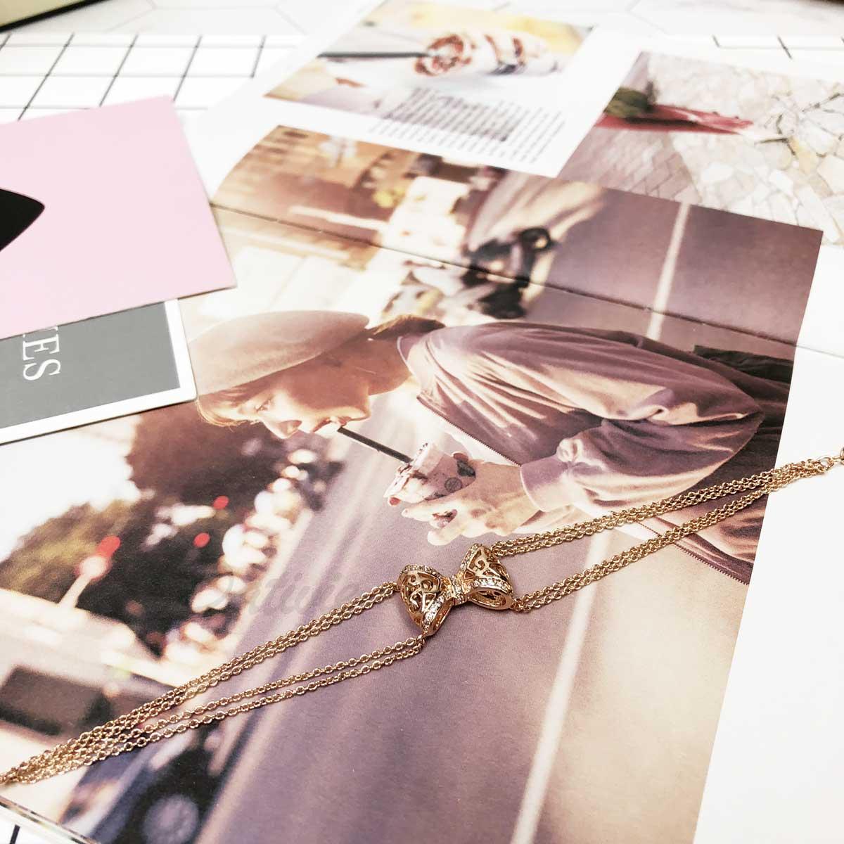 精緻 蝴蝶結 玫瑰金 鏤空 鑲鑽 立體 圖藤紋 氣質款 精緻款 手鍊 手飾