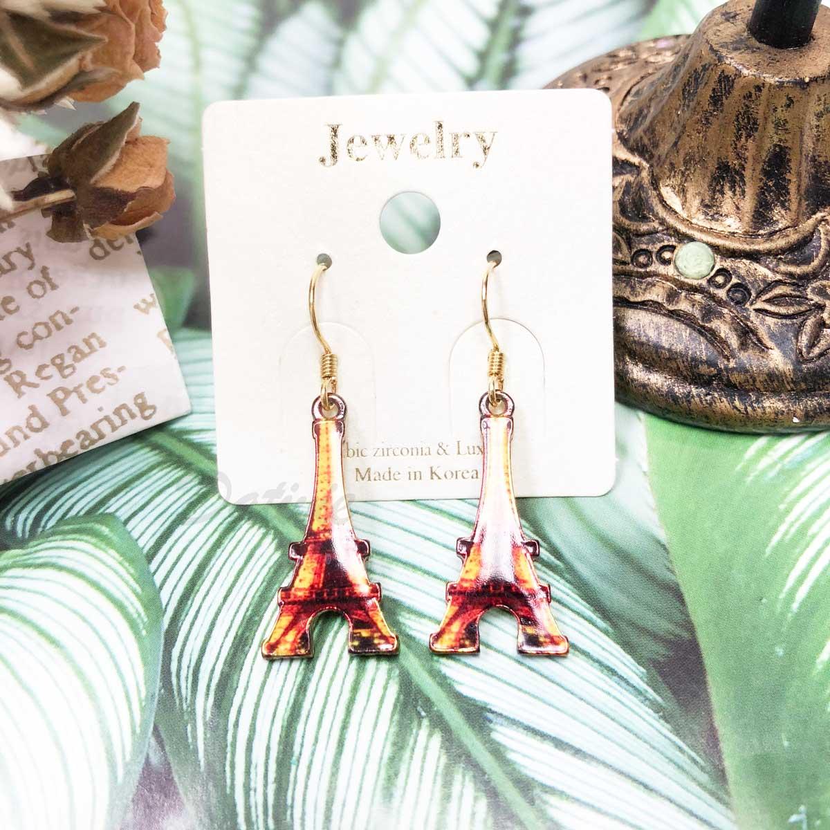 復古巴黎 鐵塔 針式耳環