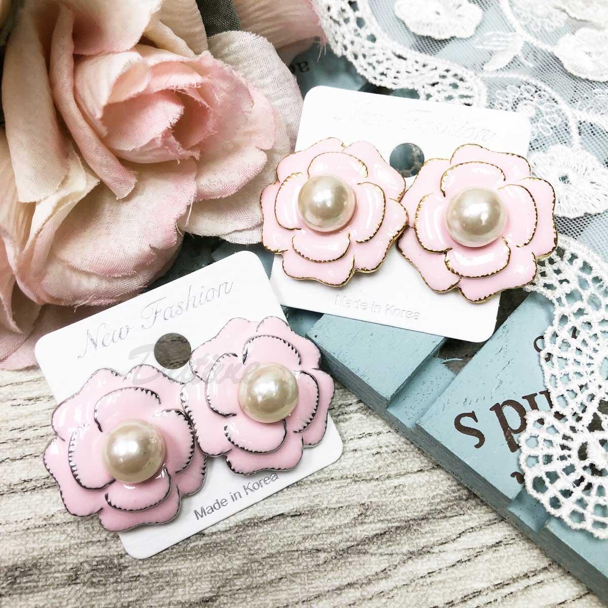 高貴貴氣 展放玫瑰花 珍珠點綴 針式耳環