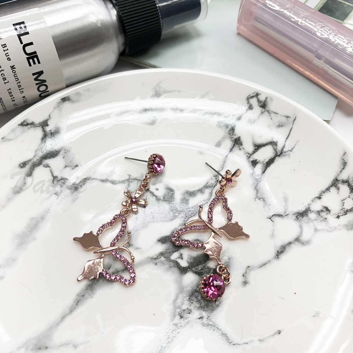 玫瑰金 蝴蝶 展蝶 鏤空 單鑽 鑲鑽 垂吊 粉鑽 針式耳環