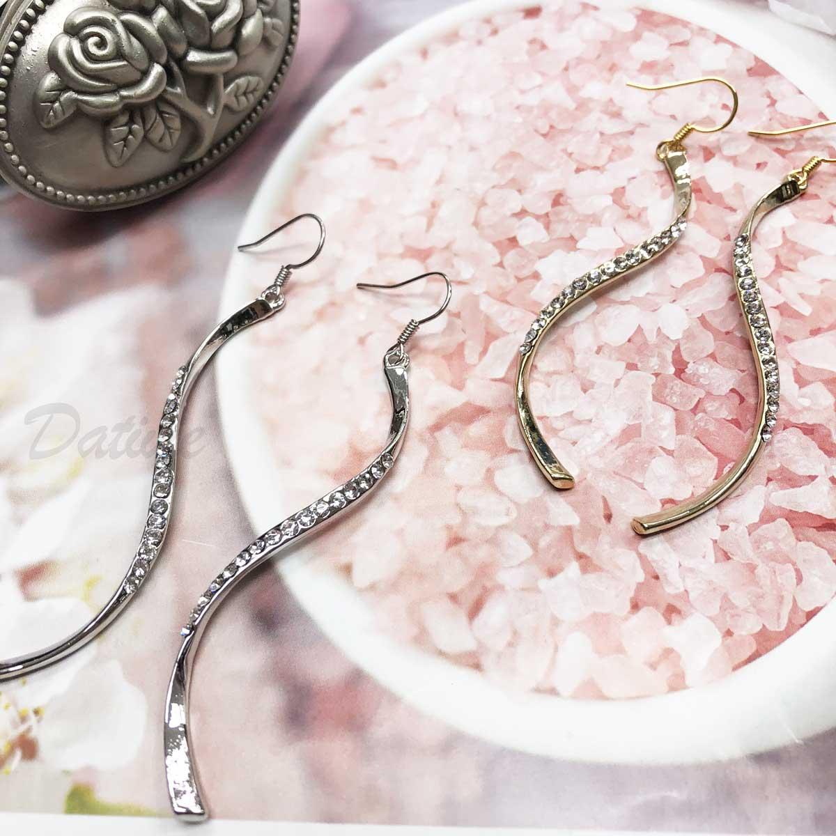 流線 曲線 緞帶  鑲鑽 線條 銀 金 勾式耳環