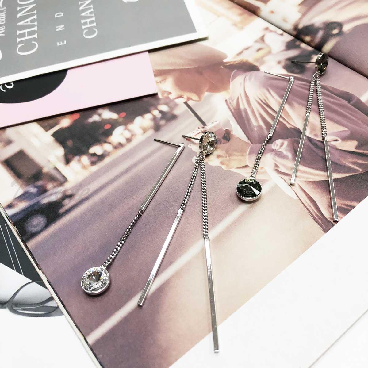 線狀 線條 垂吊  單鑽 簡單 小流蘇 氣質款 針式耳環