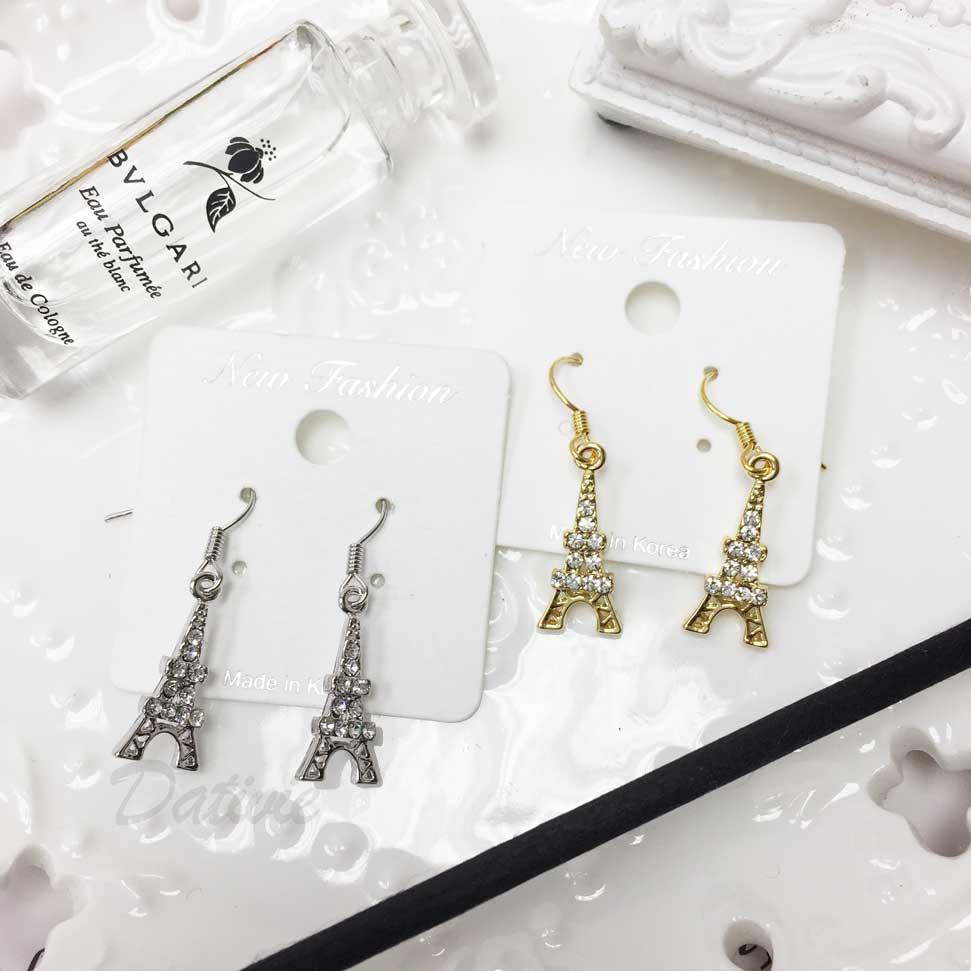 小香風 巴黎鐵塔 水鑽 耳勾耳環