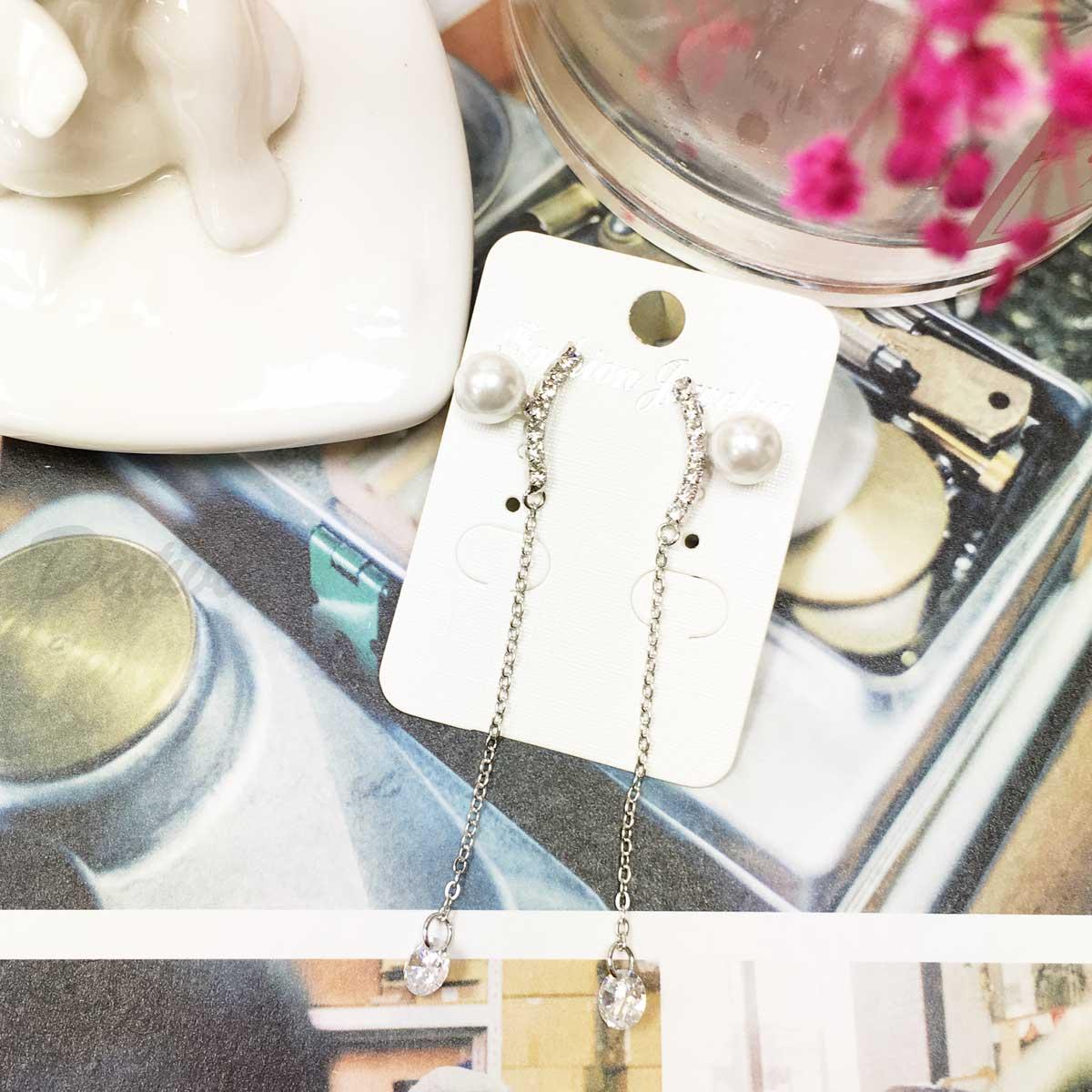 排鑽 線鑽 閃耀 水鑽 氣質 珍珠 垂墜風 耳針耳環