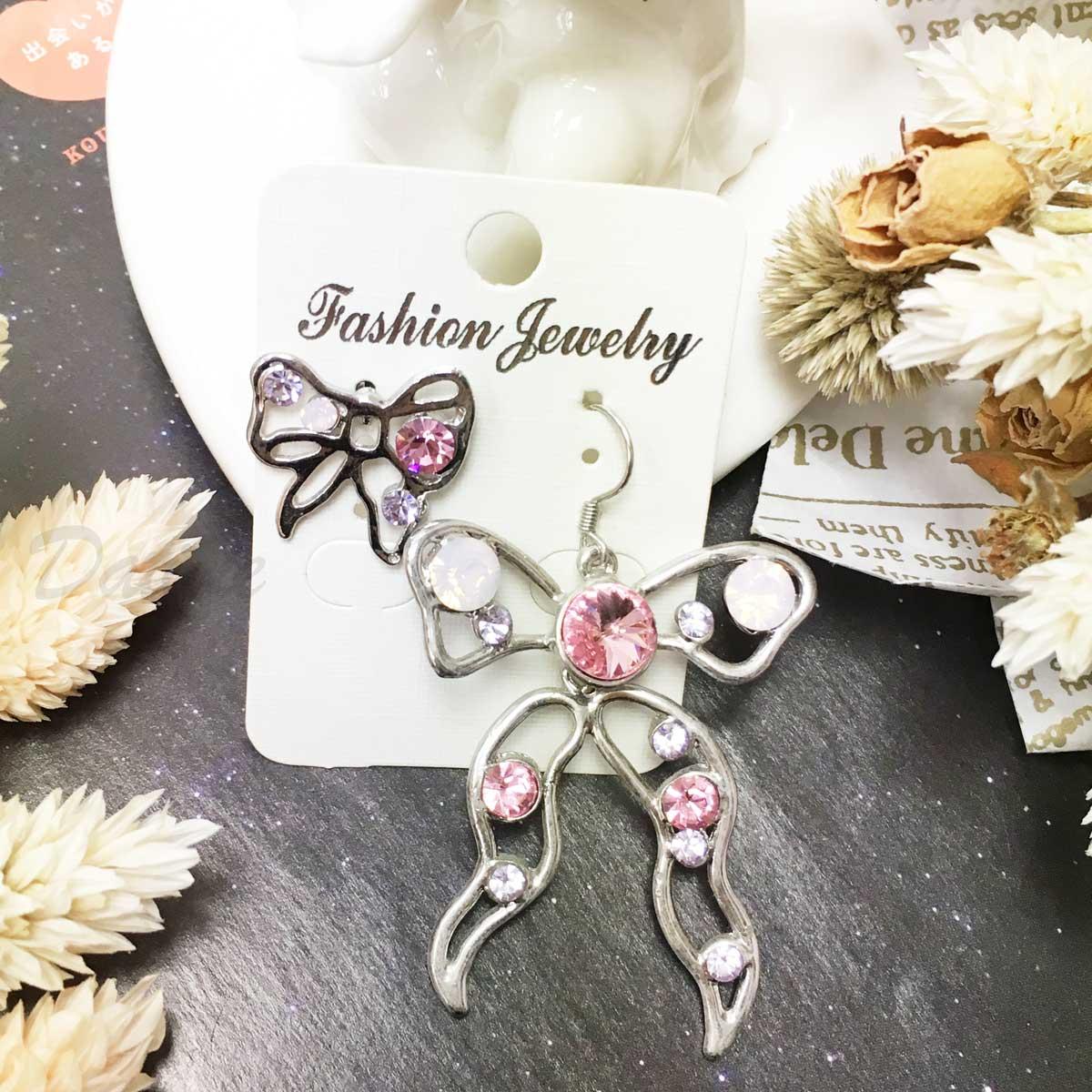 不對稱 蝴蝶結 簍空 彩鑽 氣質 閃亮 水鑽 耳勾耳針耳環