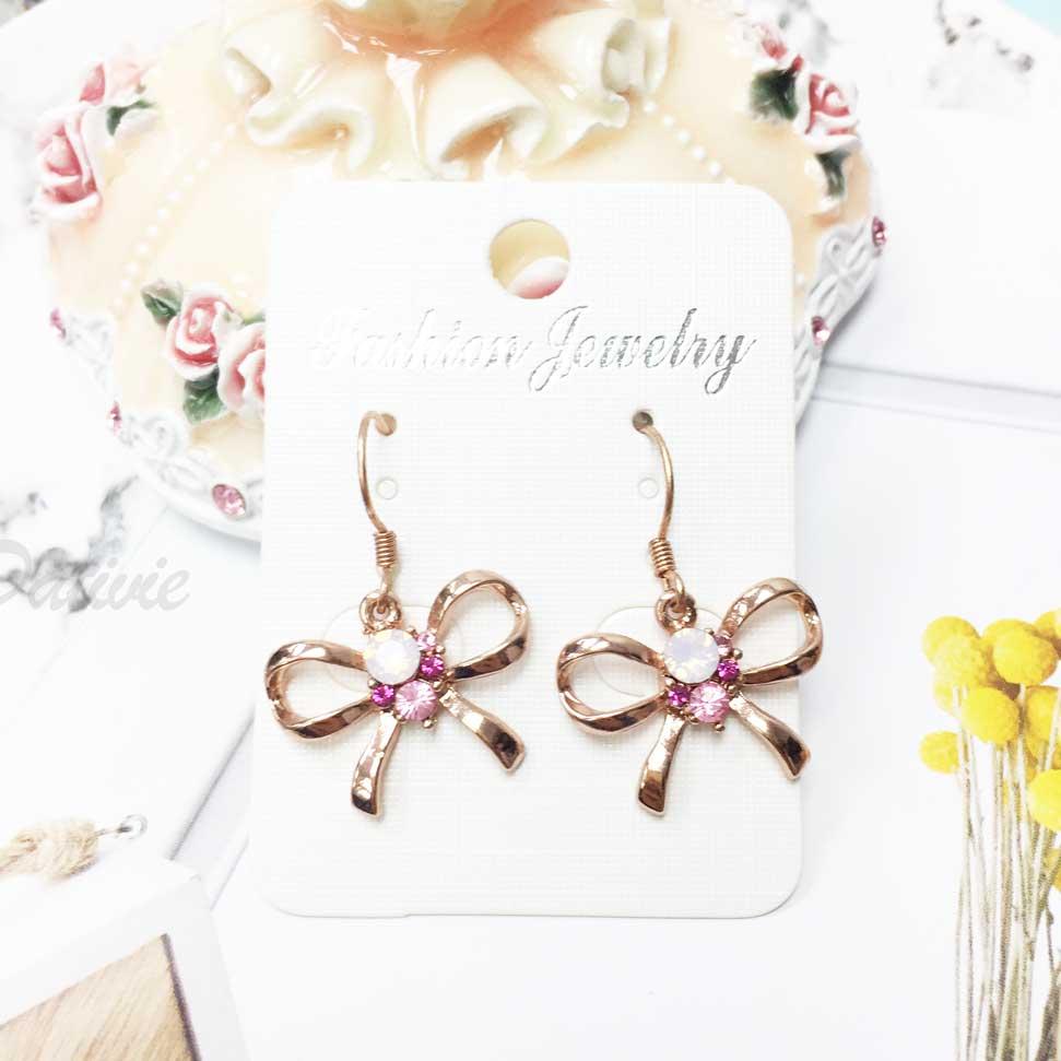 蝴蝶結 玫瑰金 水鑽 氣質 垂墜風 耳勾耳環