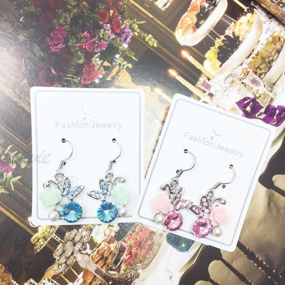蝴蝶 花朵 氣質 珍珠 閃亮 水鑽 耳勾耳環