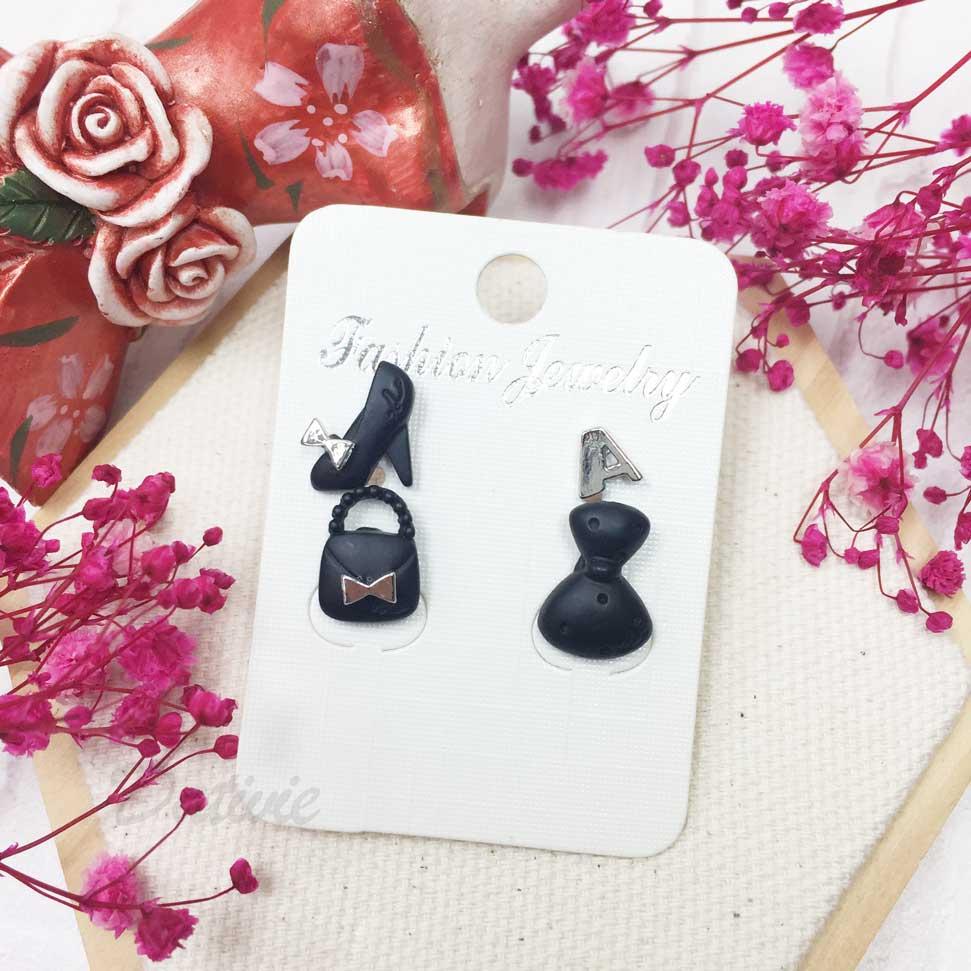 高跟鞋 包包 洋裝 禮服 黑色 4入 耳針耳環