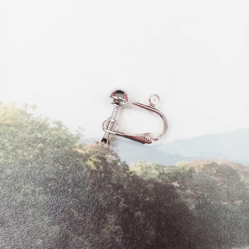 中圓珠帶圈螺旋耳夾 8入-銀(耳勾專用)