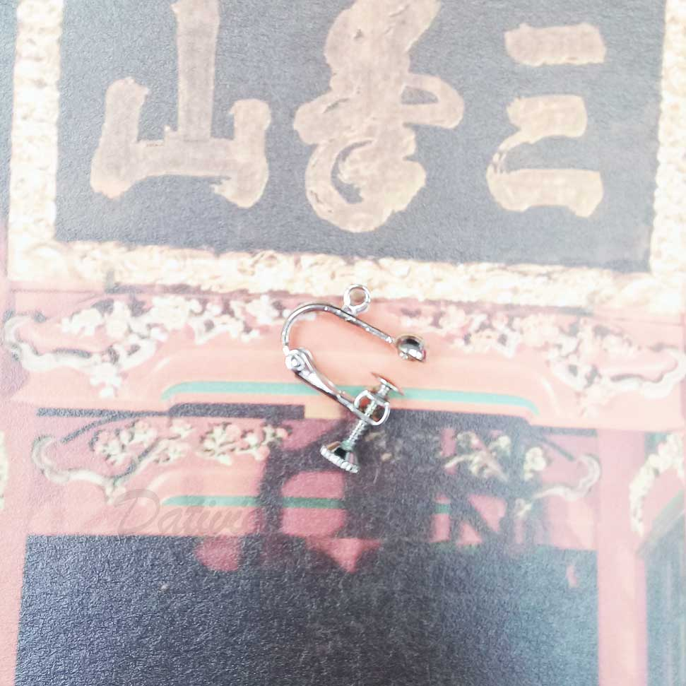 小圓珠帶圈螺旋耳夾 9入-銀(耳勾專用)