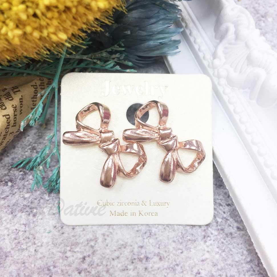 蝴蝶結 玫瑰金 耳針耳環