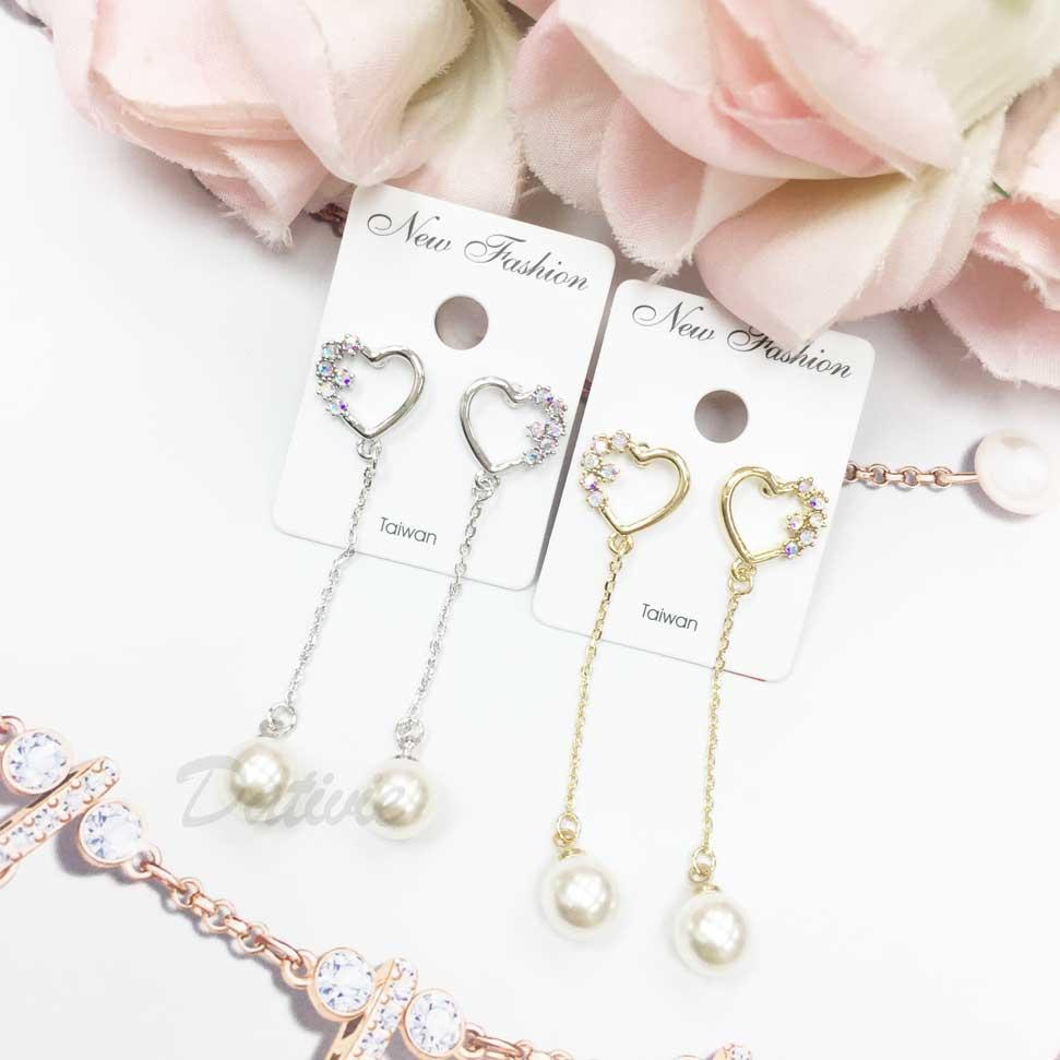 愛心鑲水鑽 鍊條 垂墜 珍珠 耳針耳環