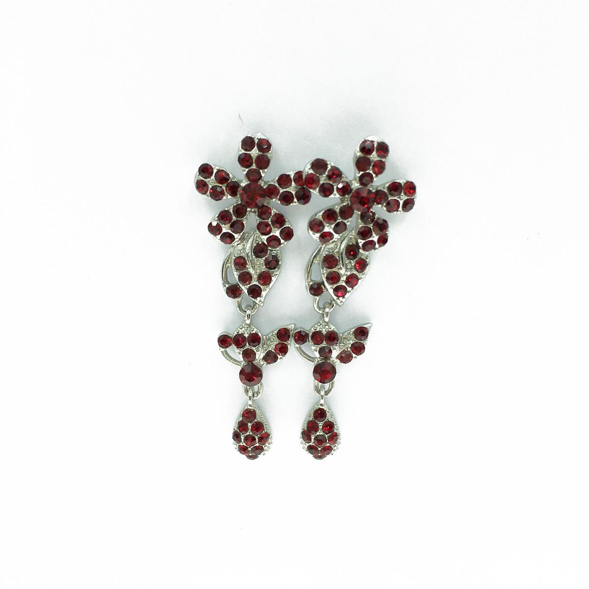 一朵花 葉子 造型 銀邊 暗紅色 水鑽 耳針耳環 採用施華洛世奇水晶元素 Crystals from Swarovski