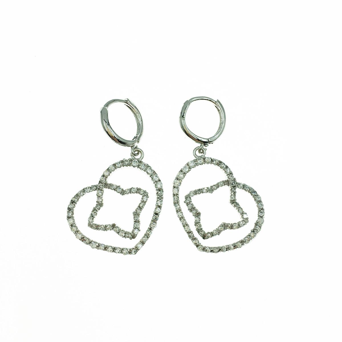 愛心框 手裡劍 俏皮 鑲鑽 水鑽 白鑽 銀色 耳針耳環 採用施華洛世奇水晶元素 Crystals from Swarovski