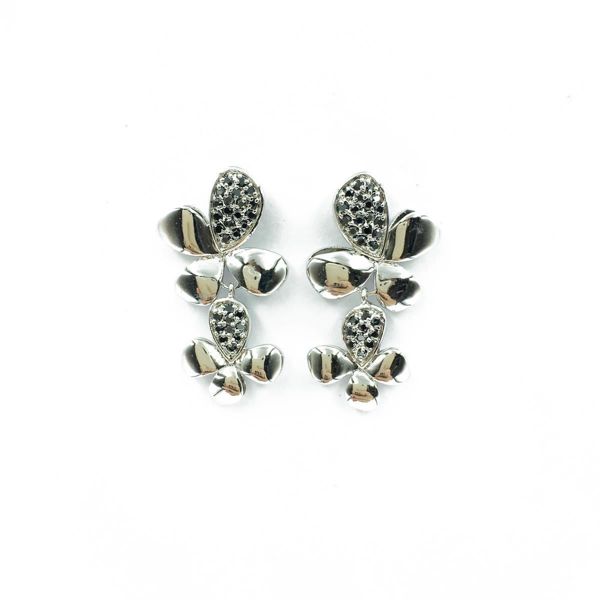 耳環項鍊組合款 蝴蝶型 花朵 鑲鑽 水鑽 黑鑽 銀色 耳針耳環 項鍊 採用施華洛世奇水晶元素 Crystals from Swarovski