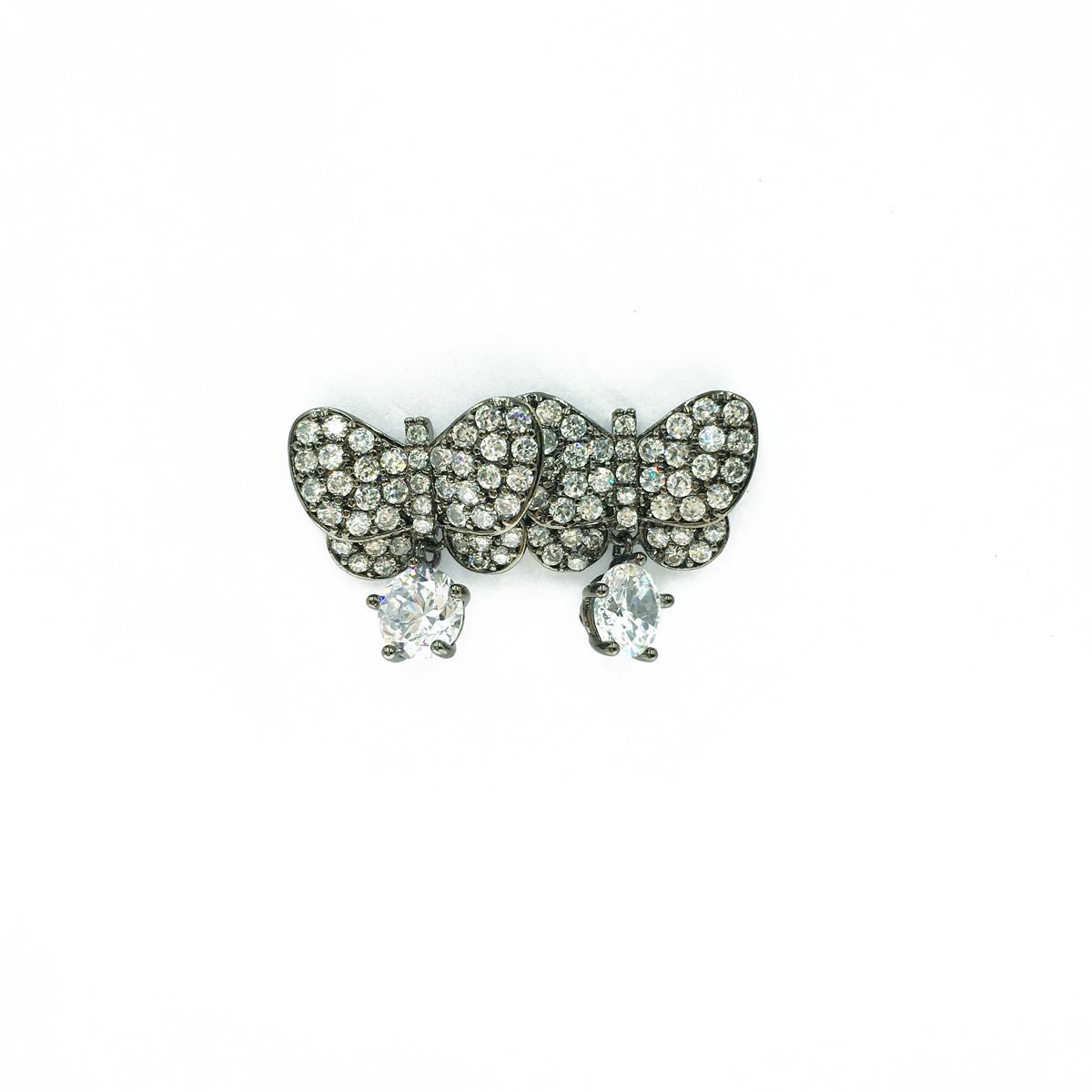 黑蝴蝶 鑲鑽 水鑽 白鑽 垂墜 單顆鑽 高貴款 耳針耳環 採用施華洛世奇水晶元素 Crystals from Swarovski