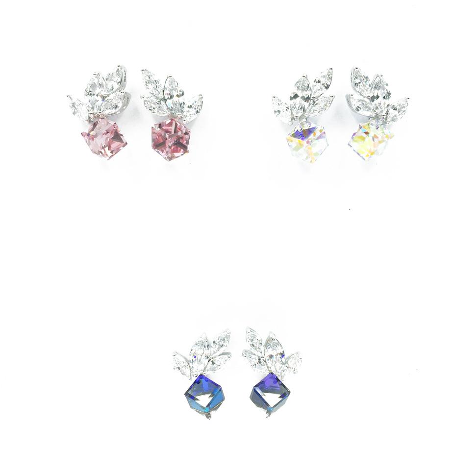 採用施華洛世奇水晶元素 Crystals from Swarovski  925純銀  葉子 羽毛 方塊  三色 耳針耳環
