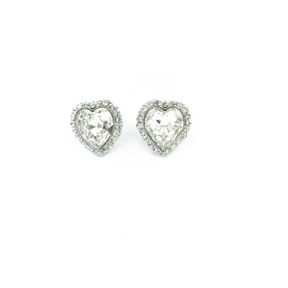 愛心 銀邊 環繞水鑽 水晶 小巧 耳針耳環 採用施華洛世奇水晶元素 Crystals from Swarovski