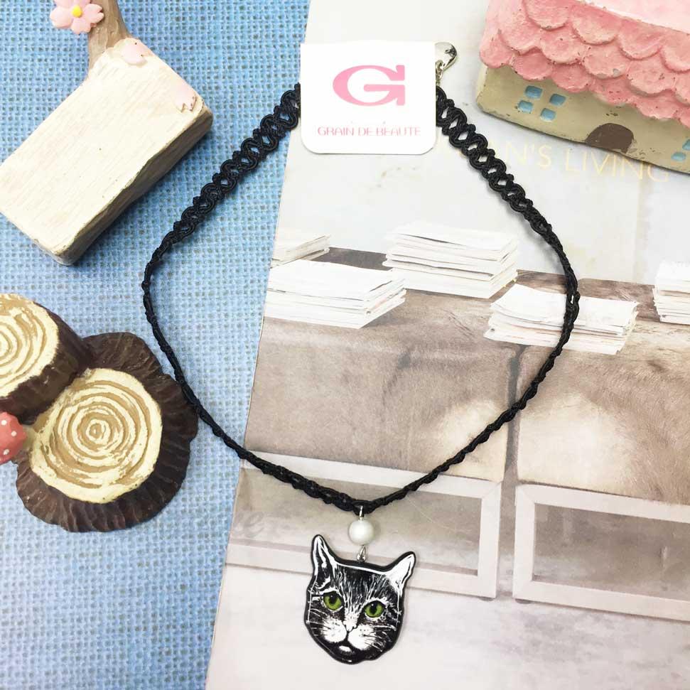 韓國 GRAIN DE BEAUTE (AZNAVOUR) 簍空 編織 垂墜珍珠 貓咪 頸鍊 項鍊