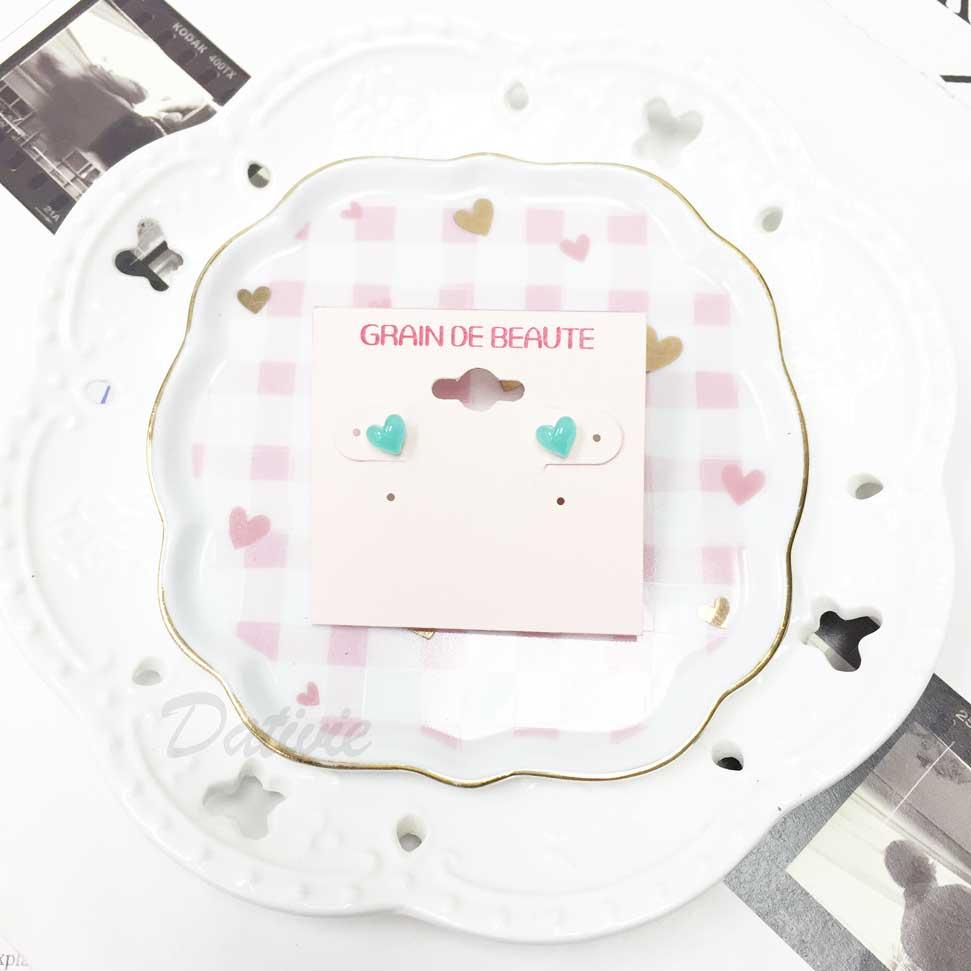 韓國 GRAIN DE BEAUTE (AZNAVOUR) 小愛心 耳針耳環