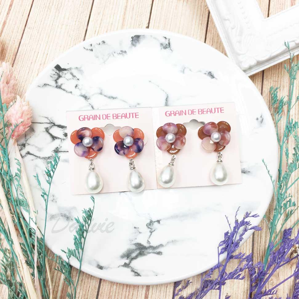 韓國 GRAIN DE BEAUTE (AZNAVOUR) 立體花朵 大理石紋 垂墜珍珠 耳針耳環