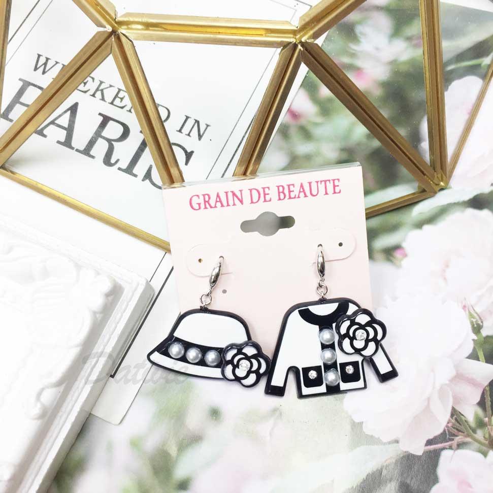 韓國 GRAIN DE BEAUTE (AZNAVOUR) 小香風 帽子 外套 山茶花 珍珠 耳勾耳環