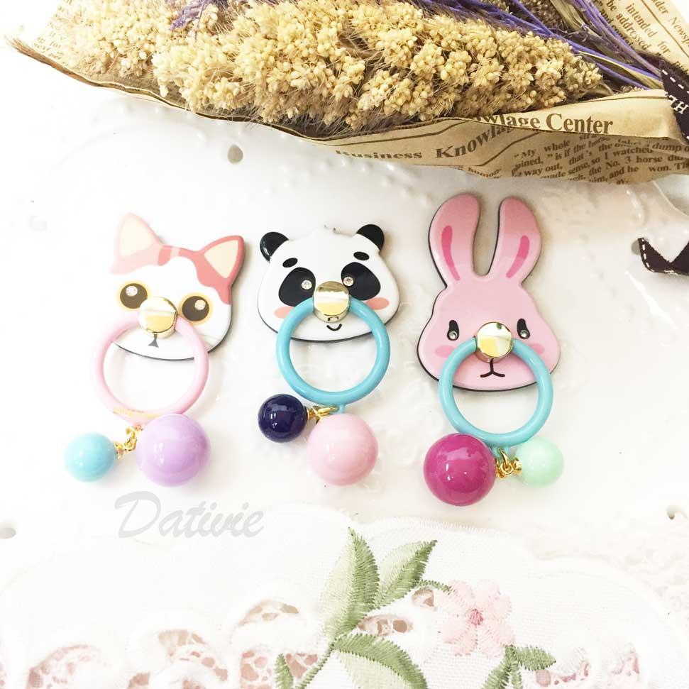 韓國 GRAIN DE BEAUTE (AZNAVOUR) 貓咪 貓熊 兔子 圓珠 指環