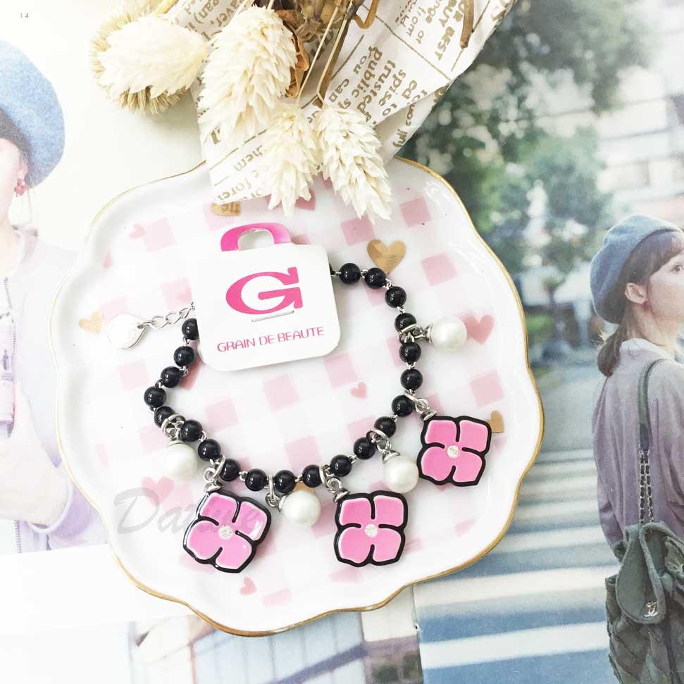 韓國 GRAIN DE BEAUTE (AZNAVOUR) 串珠 垂墜珍珠 花朵 手鍊