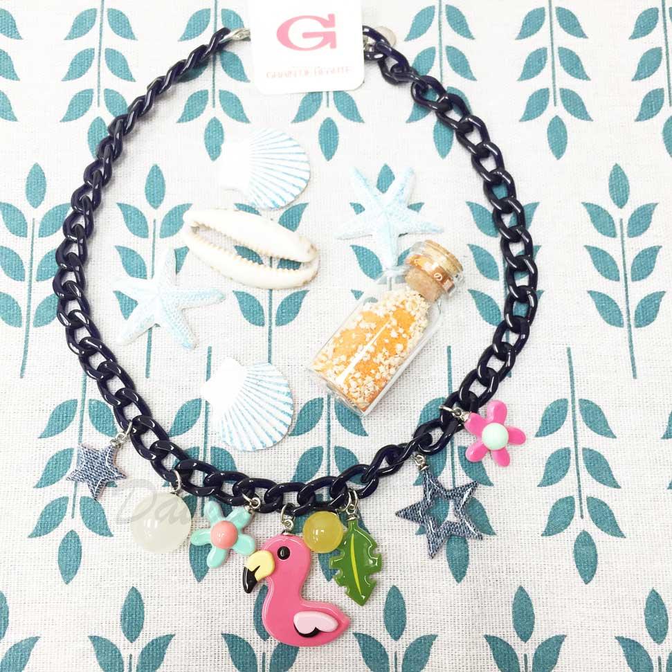 韓國 GRAIN DE BEAUTE (AZNAVOUR) 鎖鏈 垂墜 星星 珠珠 花朵 葉子 火烈鳥 項鍊