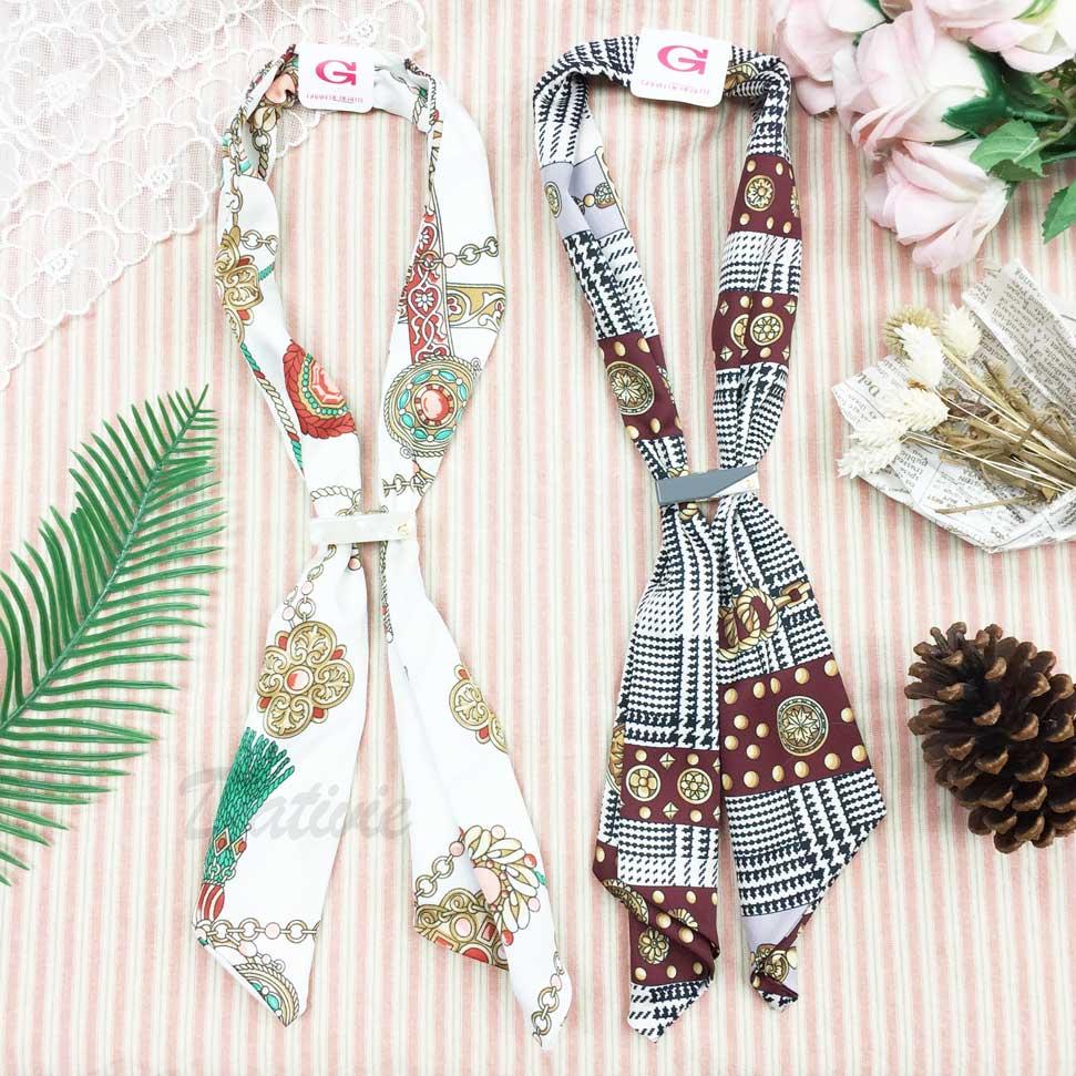 韓國 GRAIN DE BEAUTE (AZNAVOUR) 鍊條 花紋 千鳥紋 磁扣 絲巾