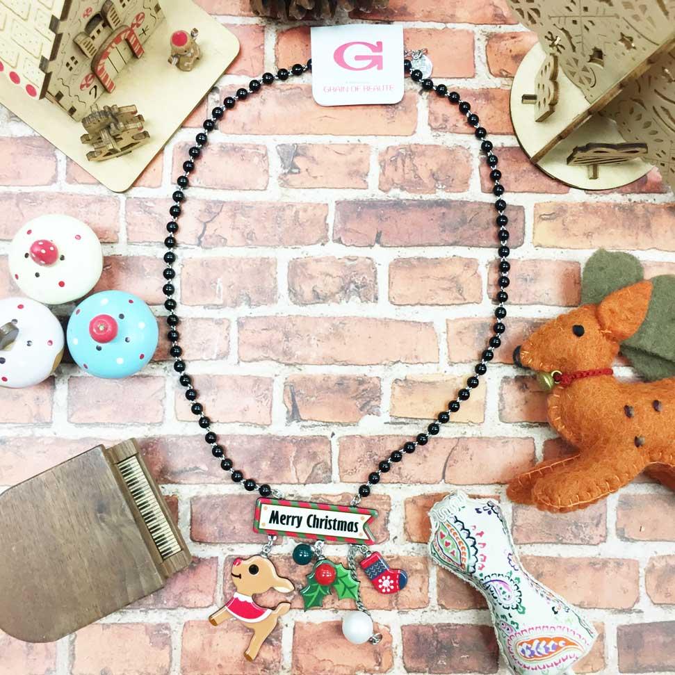 韓國 GRAIN DE BEAUTE (AZNAVOUR) 串珠 聖誕節 垂墜 麋鹿 聖誕紅 襪子 鍊條珍珠 項鍊