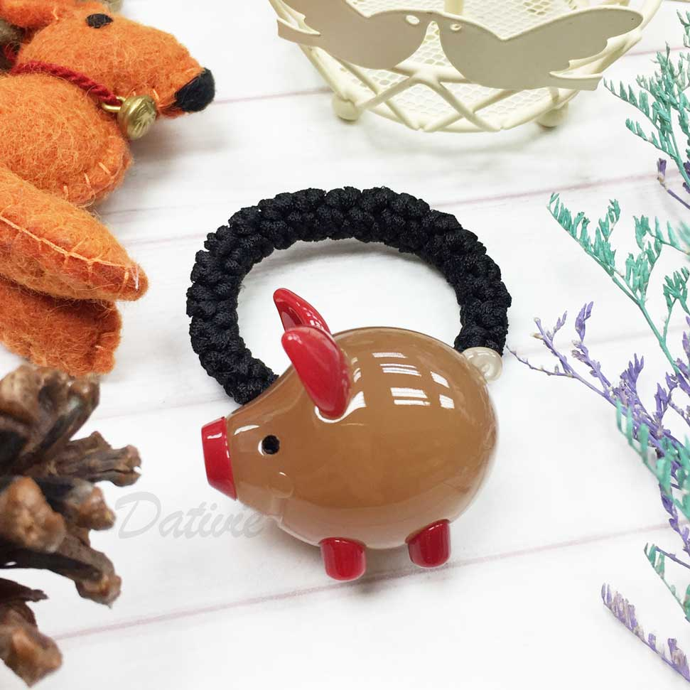 韓國 GRAIN DE BEAUTE (AZNAVOUR) 立體小豬 髮束 髮圈