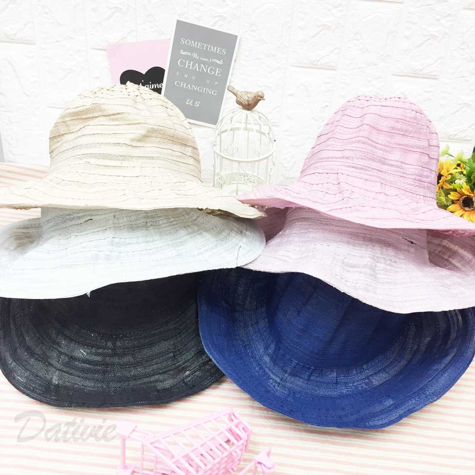素面 多色 薄透款 可調式鬆緊 帽子 遮陽帽 草帽