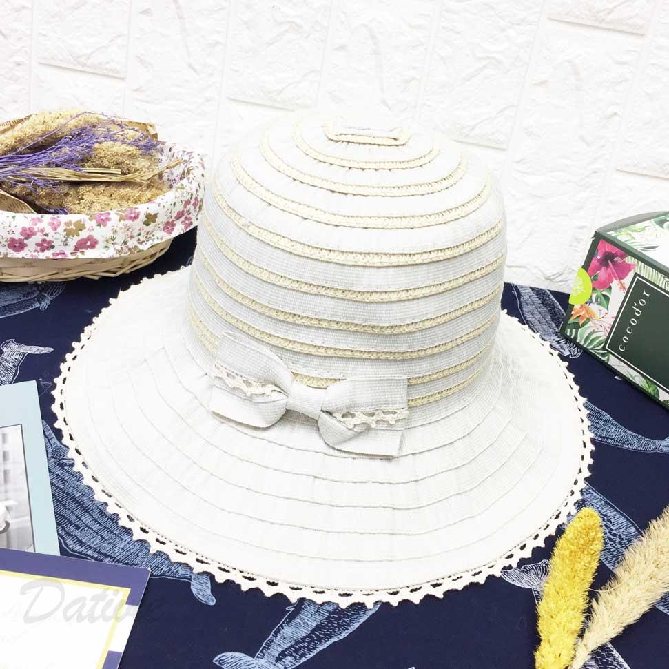 不規則花邊 雙色配色 蝴蝶結 鐵邊可摺 帽子 遮陽帽 草帽