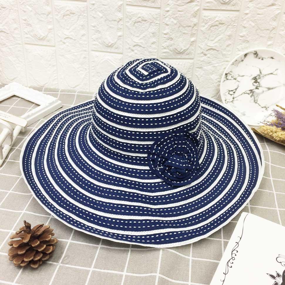 深藍白 線條 條紋 層次配色 花朵裝飾 拉繩 帽子 遮陽帽 草帽