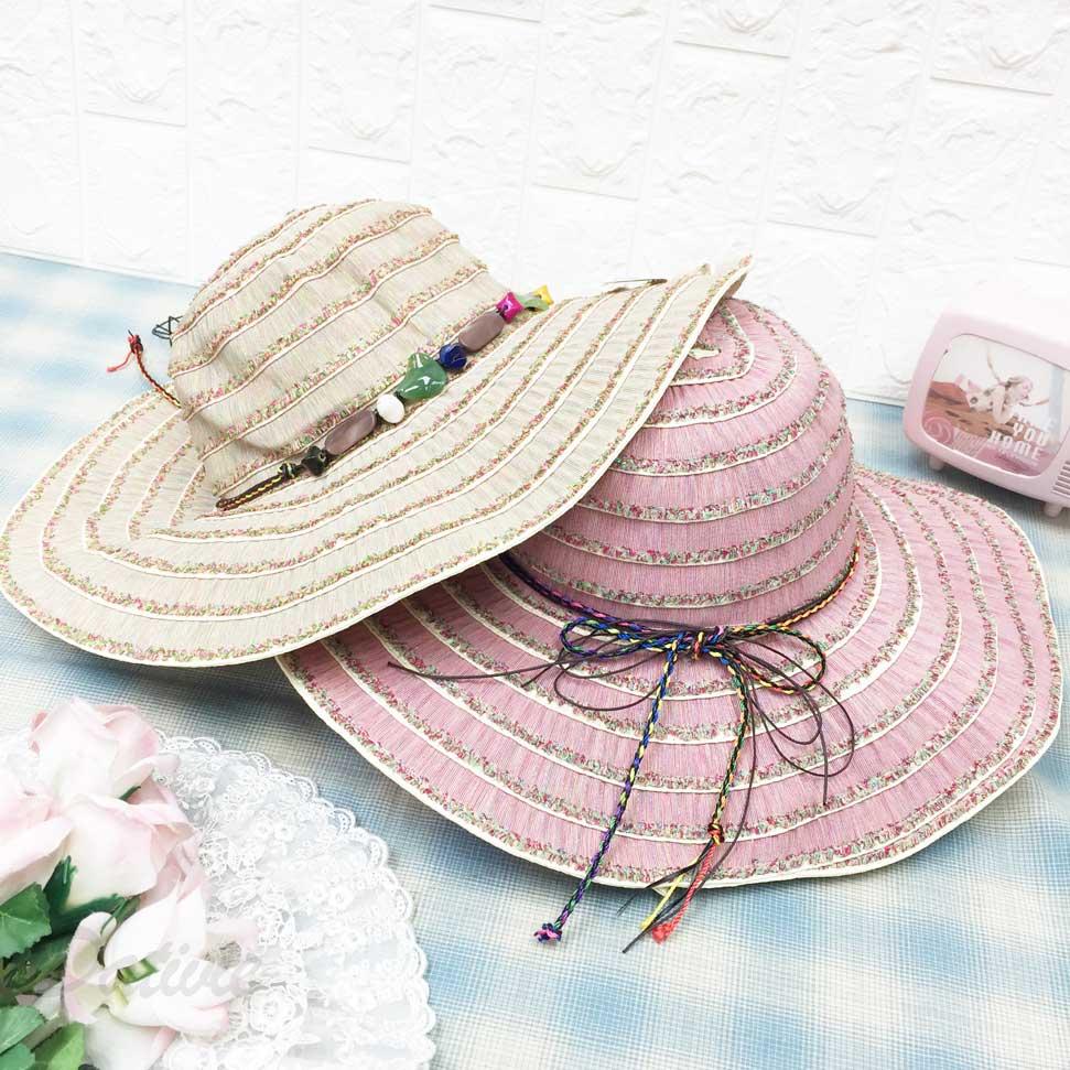民族風 寶石 彩色 編繩綁帶 帽子 遮陽帽 草帽