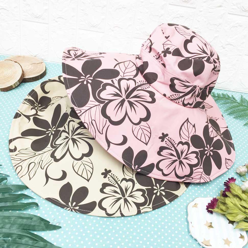 滿版 夏威夷 扶桑花 抗UV 涼感 尼龍 拉繩 帽子 遮陽帽 淑女帽