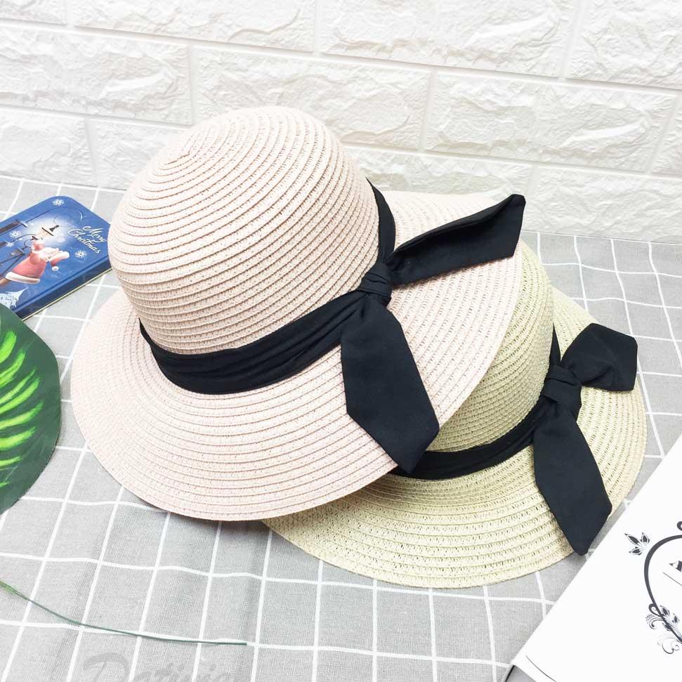 兩色 編織紋 黑帶裝飾 蝴蝶結 拉繩 帽子 草帽