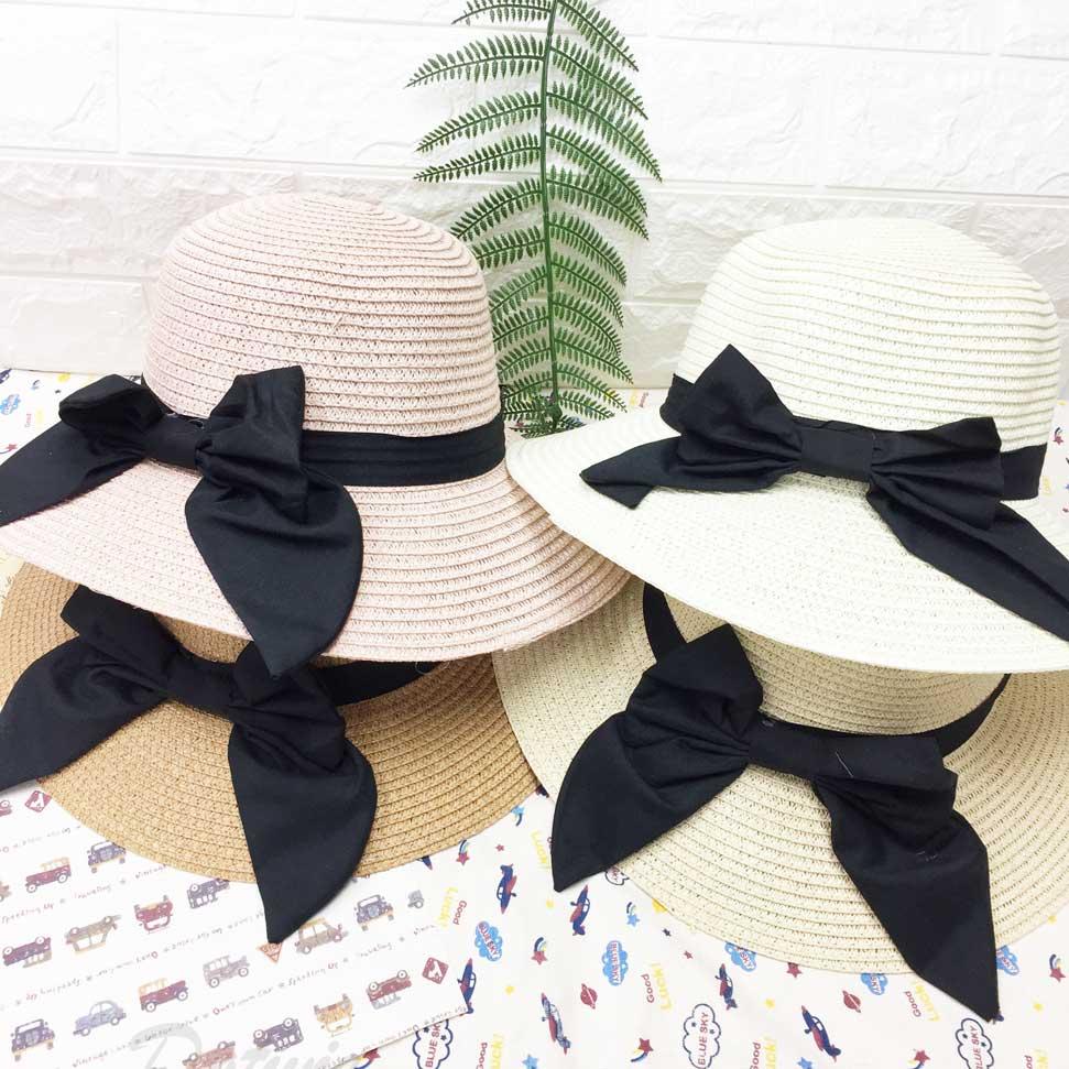 細緻款 編織紋路 黑帶 蝴蝶結裝飾 拉繩 帽子 遮陽帽 草帽