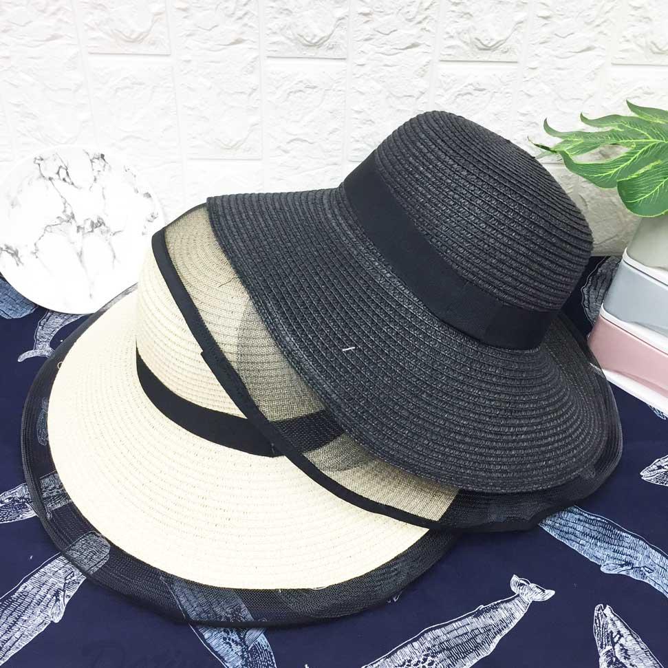 夏季草帽 網紗帽沿 遮陽 兩色 可調式鬆緊 帽子 草帽