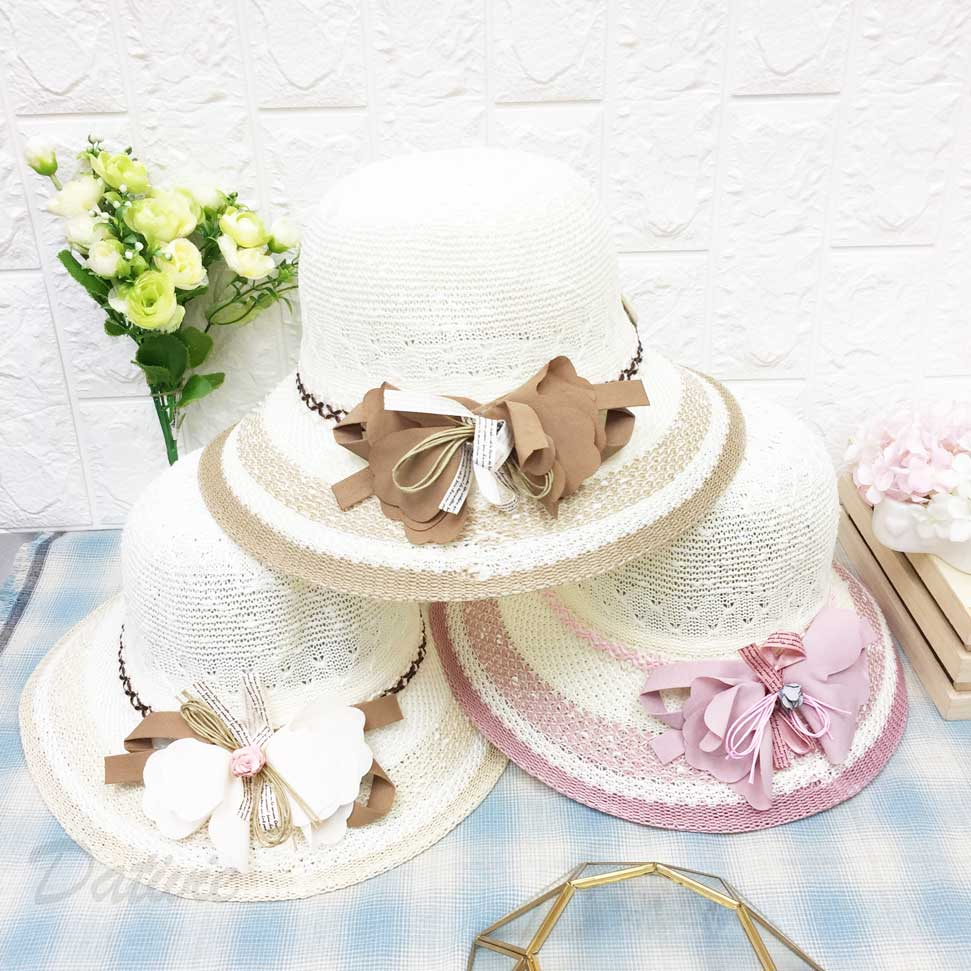 帽沿配色邊 布花朵裝飾 編織 小愛心紋路 可愛風 帽子 遮陽帽 草帽