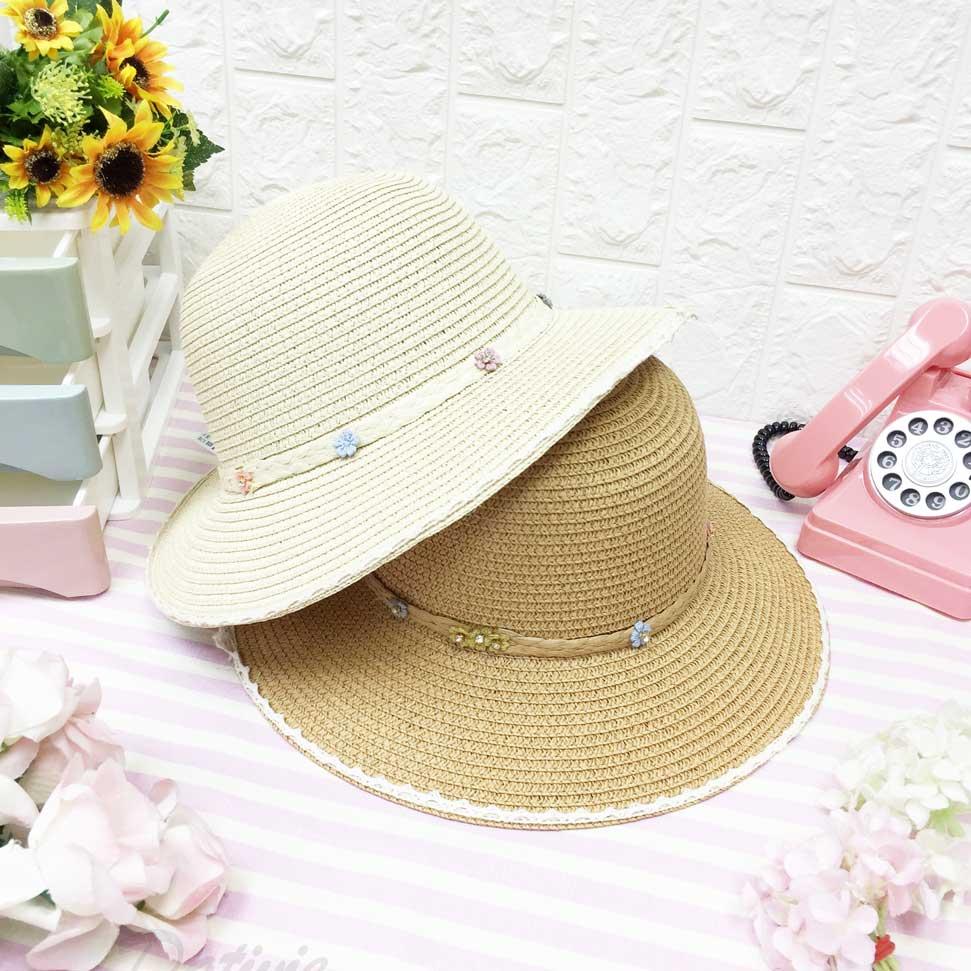 編織 小花朵 蕾絲邊 拉繩 兩色 帽子 遮陽帽 草帽