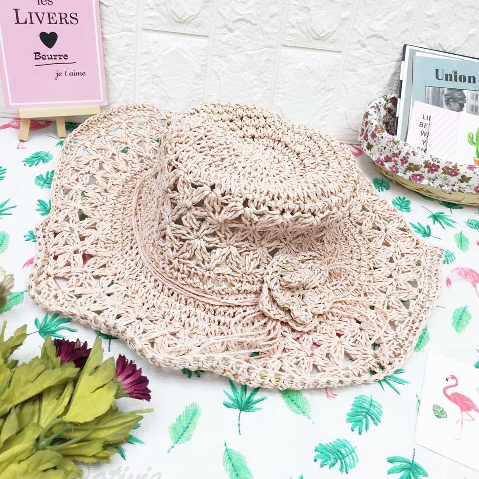 編織紋 花朵 粉色 包鐵邊可彎曲造型 頭圍可調鬆緊 帽子 遮陽帽 草帽